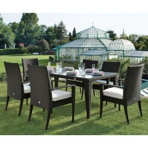 Arredi giardino set tavolo da pranzo twist in wicker king - Set tavolo e sedie rattan ...