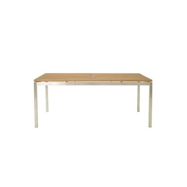 Arredi giardino set tavolo dandy acciaio e teak 6 for Sedie acciaio