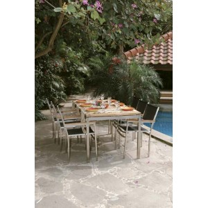 Offerte Tavoli Da Giardino In Teak.Arredi Giardino Set Tavolo Da Giardino Lunar Acciaio E Teak