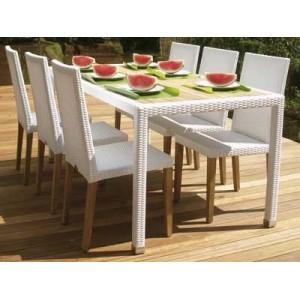 Arredi giardino tavolo fiji in teak e rattan for Arredo giardino rattan outlet