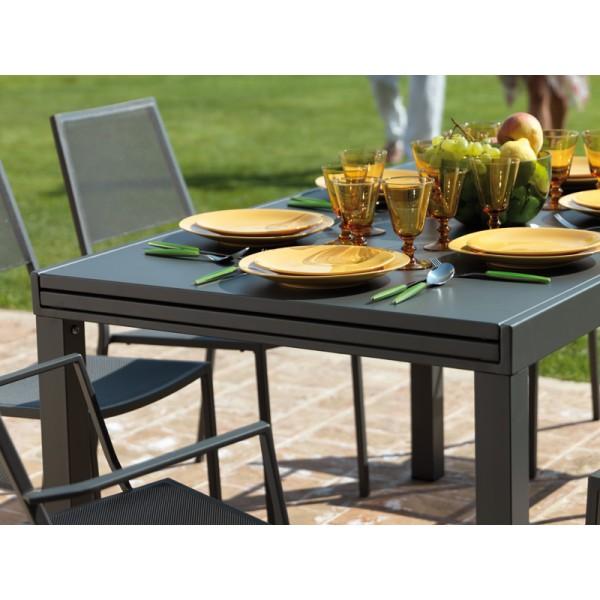 Arredi giardino set tavolo sofy 140 280 in ferro con 8 for Arredo giardino rattan outlet